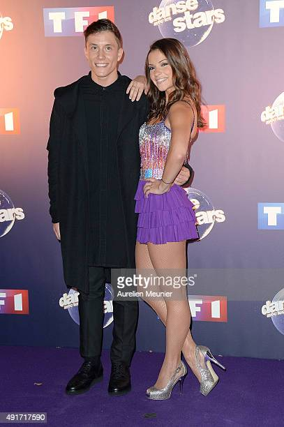 Loic Nottet and Denitsa Ikonomova pose during the 'Dances With The Stars' photocall on October 7 2015 in Paris France