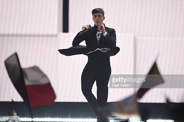 Loic Nottet of Belgium performs on stage during the final of the Eurovision Song Contest 2015 on May 23 2015 in Vienna Austria The final of the...