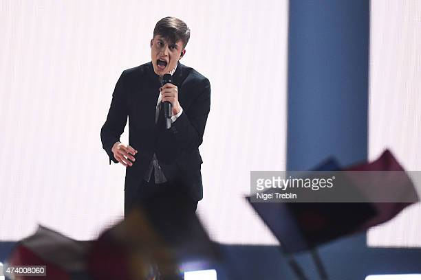 Loic Nottet of Belgium performs on stage during the first Semi Final of the Eurovision Song Contest 2015 on May 19 2015 in Vienna Austria The final...