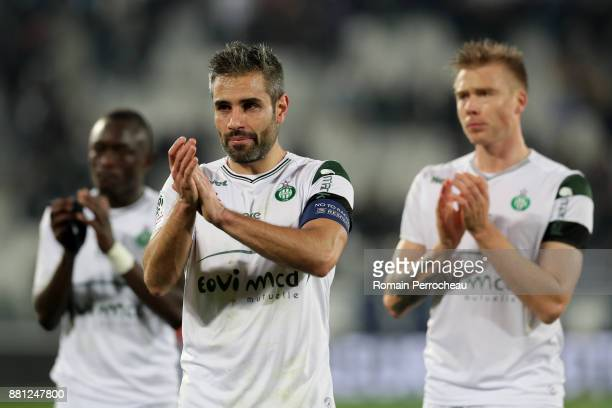 Loic Perrin of Saint Etienne waves fans after the Ligue 1 match between FC Girondins de Bordeaux and AS SaintEtienne at Stade Matmut Atlantique on...