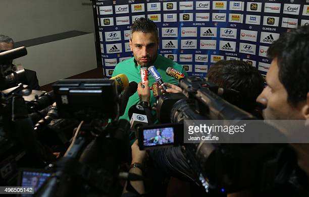 Loic Perrin of SaintEtienne answers to the media after the French Ligue 1 match between Olympique Lyonnais and AS SaintEtienne at Stade de Gerland on...
