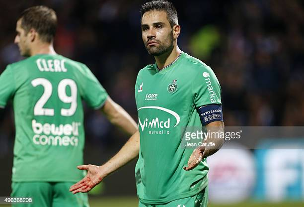 Loic Perrin of SaintEtienne reacts during the French Ligue 1 match between Olympique Lyonnais and AS SaintEtienne at Stade de Gerland on November 8...