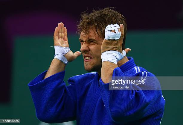 Loic Pietri of France psyches himself up prior to competing in the Men's Team semi finals during day sixteen of the Baku 2015 European Games at...