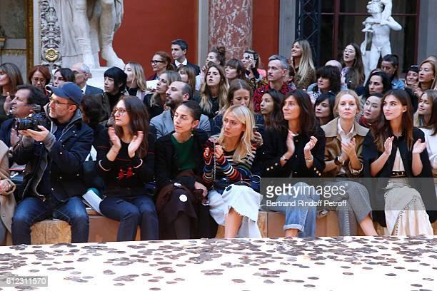 Loic Prigent, Granddaughters of Sonia Rykiel ; Salome Burstein, Tatiana Burstein and Lola Burstein; Emmanuelle Alt, guest and Rainey Qualley attend...