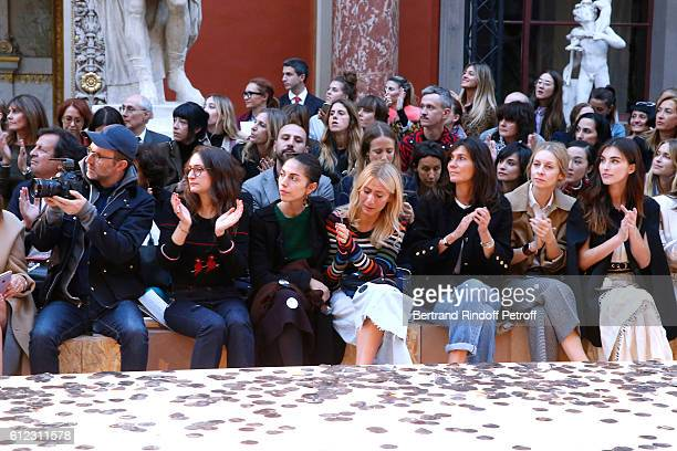 Loic Prigent Granddaughters of Sonia Rykiel Salome Burstein Tatiana Burstein and Lola Burstein Emmanuelle Alt guest and Rainey Qualley attend the...