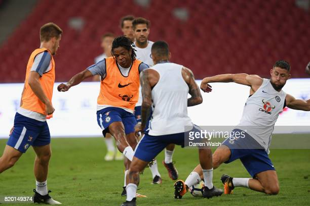 Loic Remy and Gary Cahill of Chelsea during a training session at the Birds Nest Stadium on July 21 2017 in Beijing