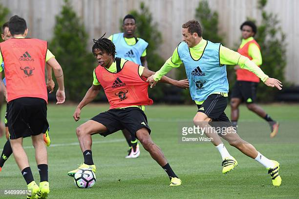 Loic Remy Nemanja Matic at Chelsea Training Ground on July 13 2016 in Cobham England