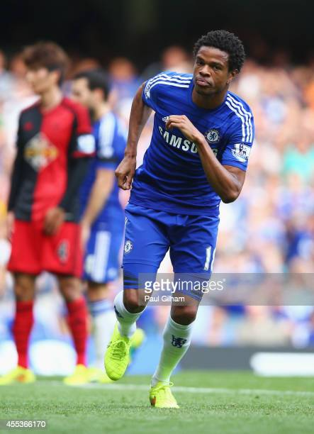 Loic Remy of Chelsea celebrates as he scores their fourth goal during the Barclays Premier League match between Chelsea and Swansea City at Stamford...