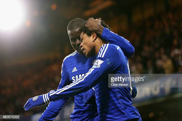 Loic Remy of Chelsea celebrates scoring the opening goal with Kurt Zouma of Chelsea during the Barclays Premier League match between Chelsea and...