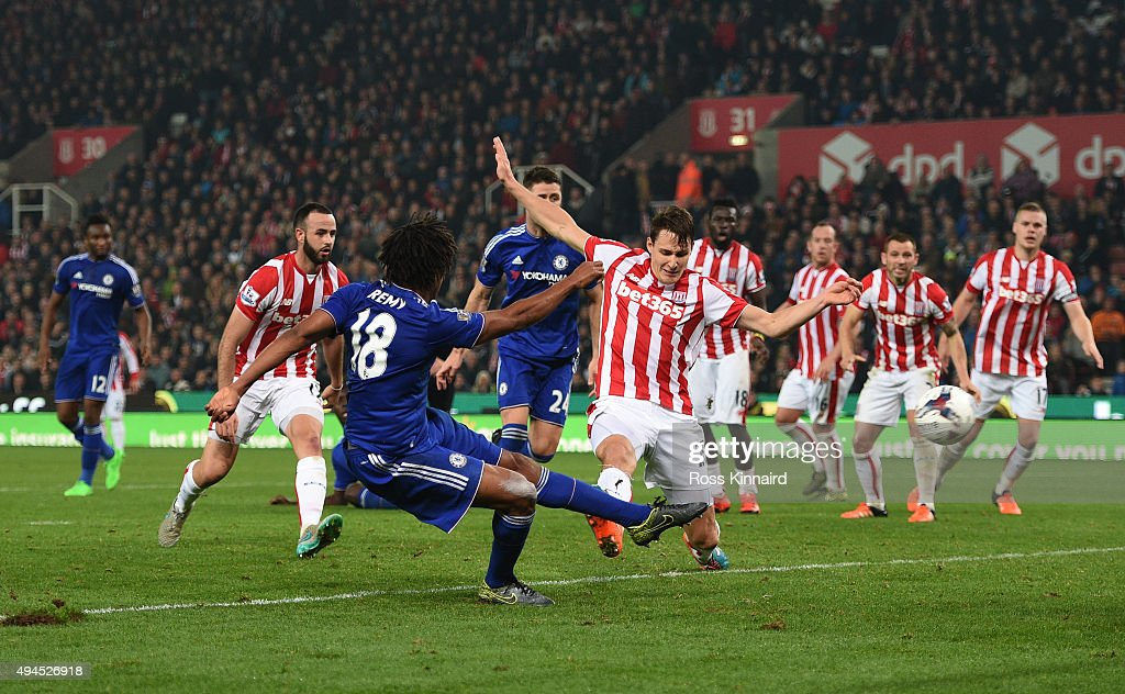 Loic Remy of Chelsea scores an injury time goal to level the scores at 1-1 during the Capital One Cup fourth round match between Stoke City and Chelsea at the Britannia Stadium on October 27, 2015 in Stoke on Trent, England.