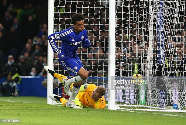 Loic Remy of Chelsea turns to celebrate after scoring the opening goal past Joe Hart of Manchester City during the Barclays Premier League match...