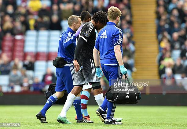 Loic Remy of Chelsea walks off the pitch after picking up an injury during the Barclays Premier League match between Aston Villa and Chelsea at Villa...