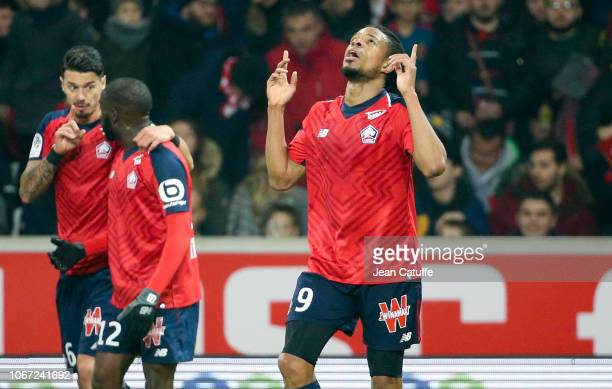Loic Remy of Lille celebrates his goal during the french Ligue 1 match between Lille OSC and Olympique Lyonnais at Stade Pierre Mauroy on December 1...