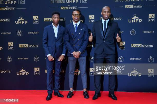 Loic Remy of Lille with Didier Drogba and his son during the UNFP Trophy 2019 at Studio Gabriel on May 19 2019 in Paris France