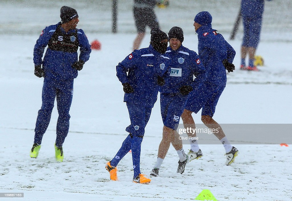 Loic Remy of Queens Park Rangers in action during a training session on January 18, 2013 in Harlington, England.
