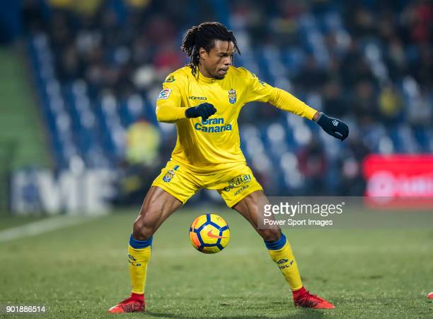 Loic Remy of UD Las Palmas in action during the La Liga 201718 match between Getafe CF and UD Las Palmas at Coliseum Alfonso Perez on December 20...