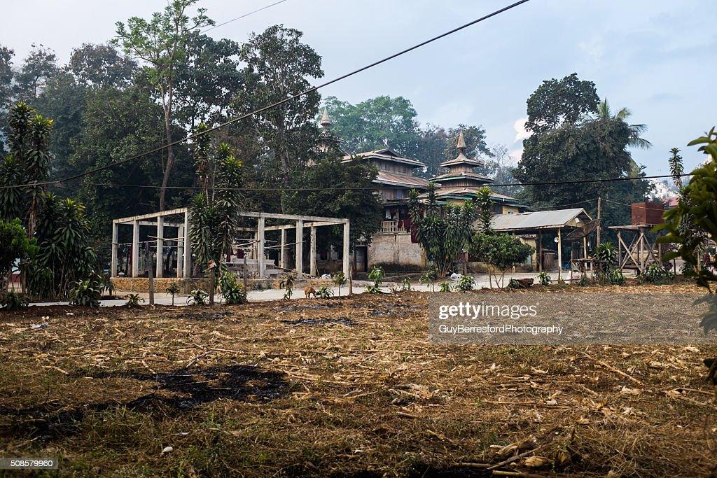 Loikaw wooden Monastery : Stock Photo