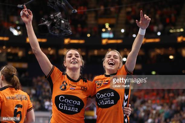 Lois Abbingh and Estavana Polman of Netherlands celebrate after the IHF Women's Handball World Championship 3rd place match between Netherlands and...