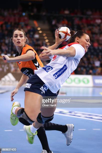 Lois Abbingh of Netherlands and Nora Mork of Norway challenges for the ball during the Championship Semi Final between match between Netherlands and...