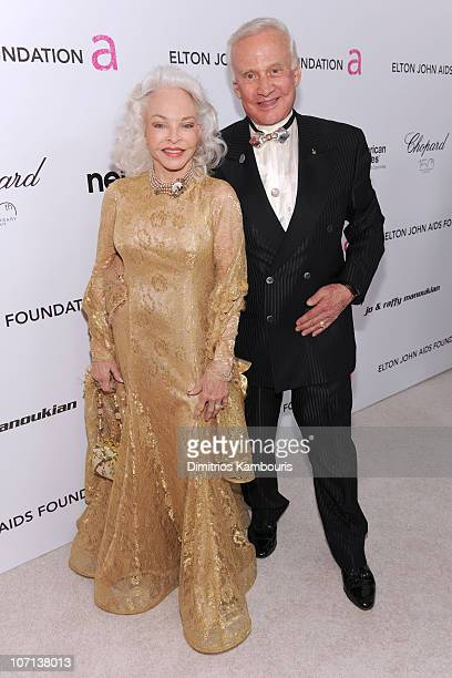 Lois Aldrin and astronaut Buzz Aldrin arrive at the 18th Annual Elton John AIDS Foundation Oscar party held at Pacific Design Center on March 7 2010...