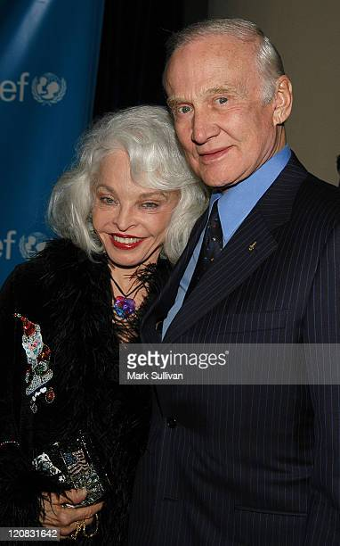 Lois Aldrin and Buzz Aldrin during UNICEF Goodwill Gala to Celebrate 50 Years of Celebrity Advocacy Arrivals at Beverly Hilton Hotel in Beverly Hills...