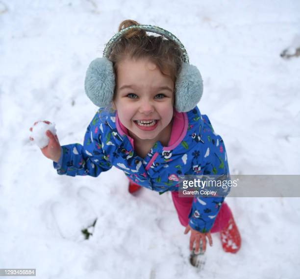 Lois Copley-Jones, aged 5, daughter of the photographer prepares to throw a snowball after heavy snowfall covers the West Midlands overnight on...