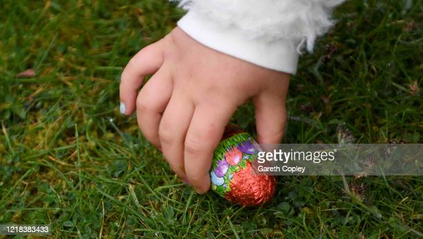 Lois CopleyJones aged 5 who is the photographer's daughter takes part in an Easter egg hunt in her back garden on April 12 2020 in Newcastle Under...