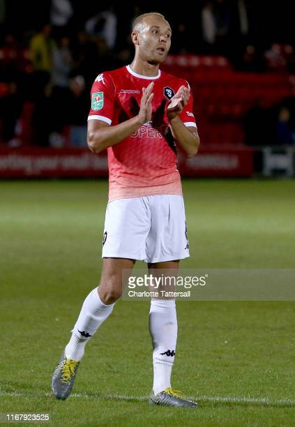 Lois Maynard of Salford City during the Carabao Cup First Round match between Salford City and Leeds United at Moor Lane on August 13 2019 in Salford...