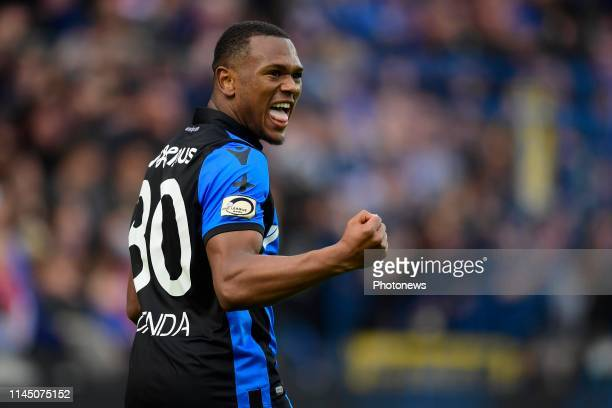 Lois Openda forward of Club Brugge celebrates after scoring during the Jupiler Pro League PlayOff 1 match between Club Brugge and Antwerp FC at the...