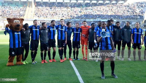 Lois Openda forward of Club Brugge celebrates the win with the fans during the PlayOffs 1 Jupiler Pro League match between Club Brugge and KRC Genk...