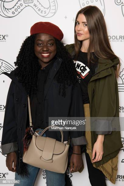 Lois Opoku and Jennifer Amanda Krueger attends the opening of the 'Good Wibes Bike Bar' to present the new ebike by Woolrich Deus at the Woolrich...