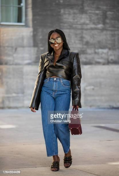 Lois Opoku is seen wearing cropped leather jacket blazer Aleksandre Akhaltkatsishvili jeans Levis Dior bag Gucci shoes sunglasses Dior on August 07...