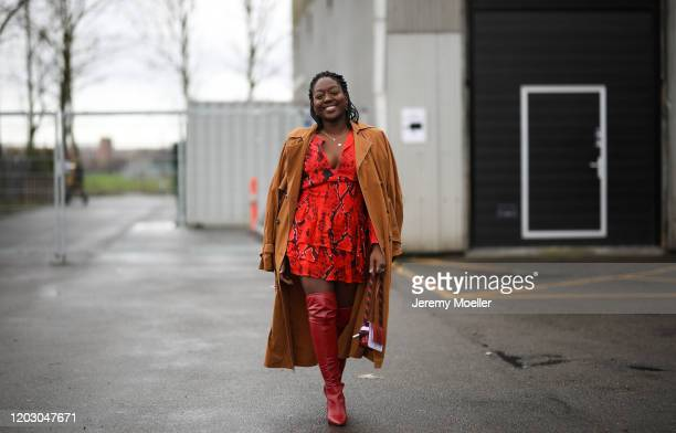Lois Opoku wearing Lala Berlin dress and bag before LalaBerlin on January 30 2020 in Copenhagen Denmark