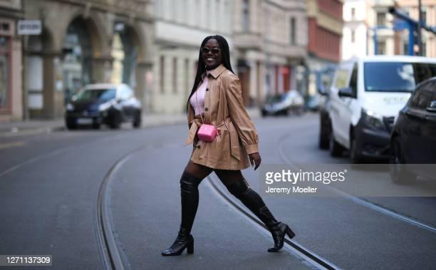 Lois Opoku wearing Zara complete look, Chanel bag and Vogue eyewear x Gigi Hadid shades on September 06, 2020 in Berlin, Germany.