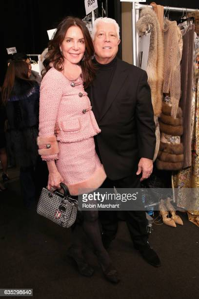 Lois Robbins Zaro and designer Dennis Basso pose backstage for the Dennis Basso collection during New York Fashion Week The Shows at Gallery 1...