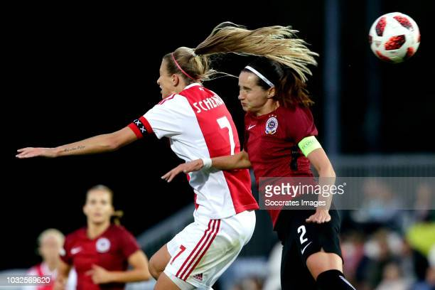 Lois Schenkel of Ajax Women Adela Odehnalova of Sparta Praha Women during the UEFA Champions League Women match between Ajax v Sparta Prague at the...
