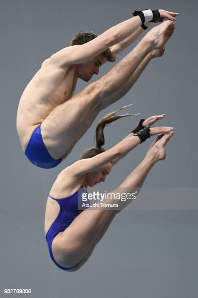 Lois Toulson and Matthew Lee of Great Britain compete in the Mixed 10m Synchro Platform final during day two of the FINA Diving World Series Fuji at...