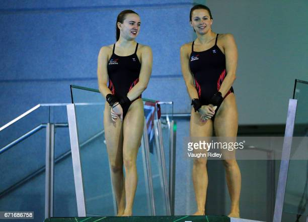 Lois Toulson and Tonia Couch of Great Britain during training prior to the 2017 FINA Diving World Series at the Windsor International Aquatic and...