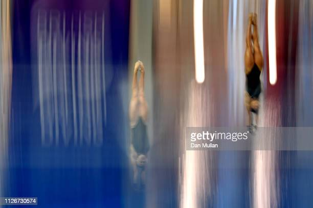 Lois Toulson of City of Leeds Diving Club and Eden Cheng of Crystal Palace Diving Club compete in the Womens 10m Synchro during day one of the...