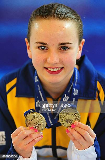 Lois Toulson of City of Leeds Diving Club poses with her Gold Medals after winning the Womens Platform Final during Day Two of the British Gas Diving...