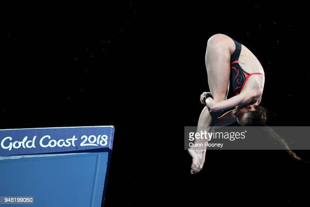 Lois Toulson of England competes in the Women's 10m Platform Diving Final on day eight of the Gold Coast 2018 Commonwealth Games at Optus Aquatic...