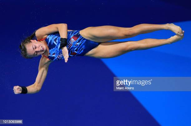 Lois Toulson of Great Britain competes in the Women's 10m Platform Preliminary round during the diving on Day seven of the European Championships...