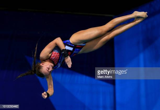 Lois Toulson of Great Britain competes in the Women's 10m Platform Final during the diving on Day seven of the European Championships Glasgow 2018 at...