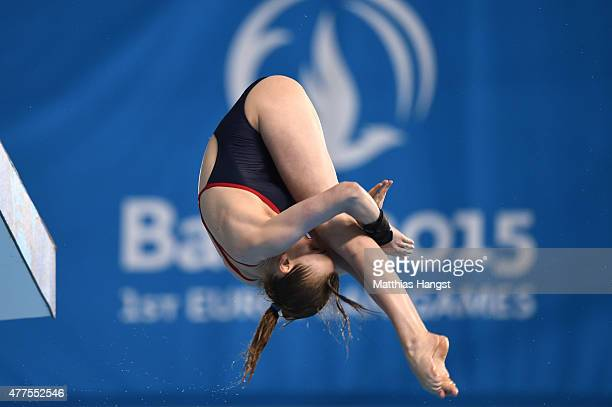 Lois Toulson of Great Britain competes in the Women's Diving Platform Preliminary during day six of the Baku 2015 European Games at the Baku Aquatics...