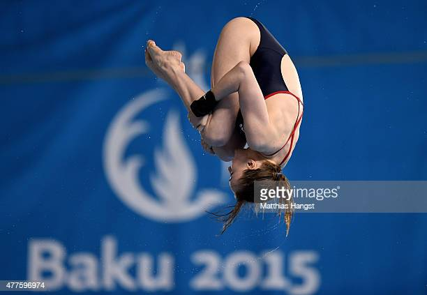 Lois Toulson of Great Britain competes in the Women's Diving Platform Final during day six of the Baku 2015 European Games at the Baku Aquatics...