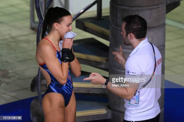 Lois Toulson of Great Britain speaks to her coach during Women's 10m Platform Preliminary round during the diving on Day seven of the European...