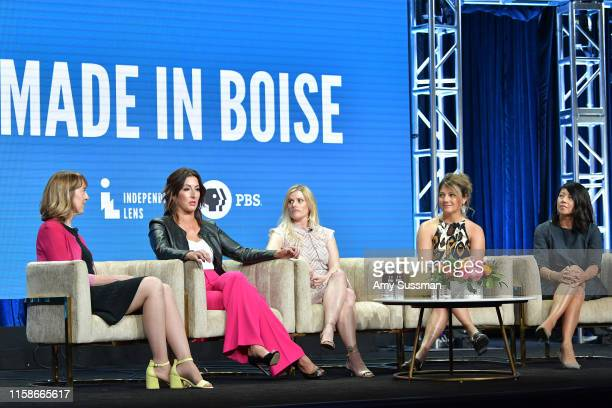Lois Vossen Shannon Rayner Nicole Williamson Cindy Floyd and Beth Aala of Made In Boise speak during the 2019 Summer TCA press tour at The Beverly...