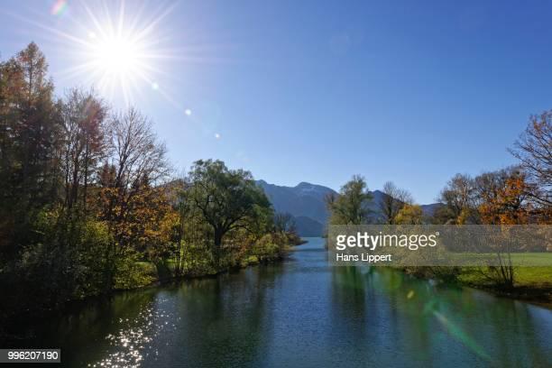 Loisach river flows out of Lake Kochel or Kochelsee Lake, Mt Heimgarten at the back, Kochel am See, Upper Bavaria, Bavaria, Germany