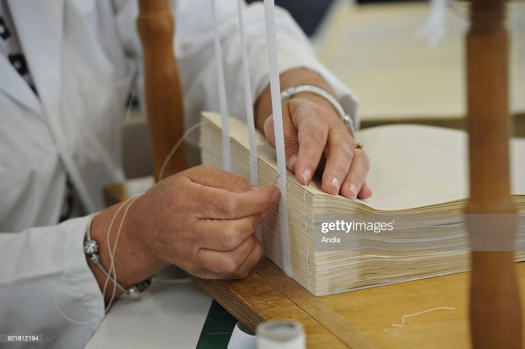 Atelier Quillet, bookbinding workshop specialized in old books and documents. : News Photo