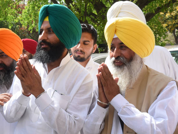 Lok Insaf Party MLA Balwinder Bains and Simranjit Singh Bains outside Punjab Assembly on the first day of Punjab Vidhan Sabha session in Chandigarh...